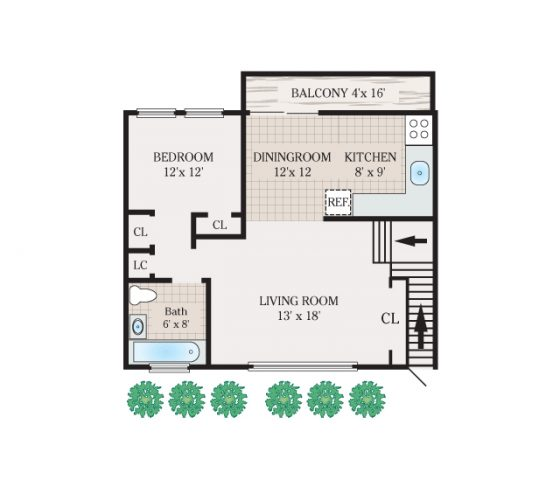 1 Bedroom 1 Bathroom. 582 sq.ft.