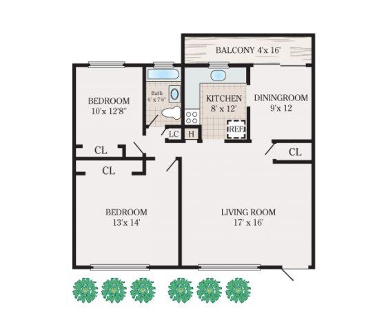 2 Bedroom 1 Bathroom. 836 sq.ft.